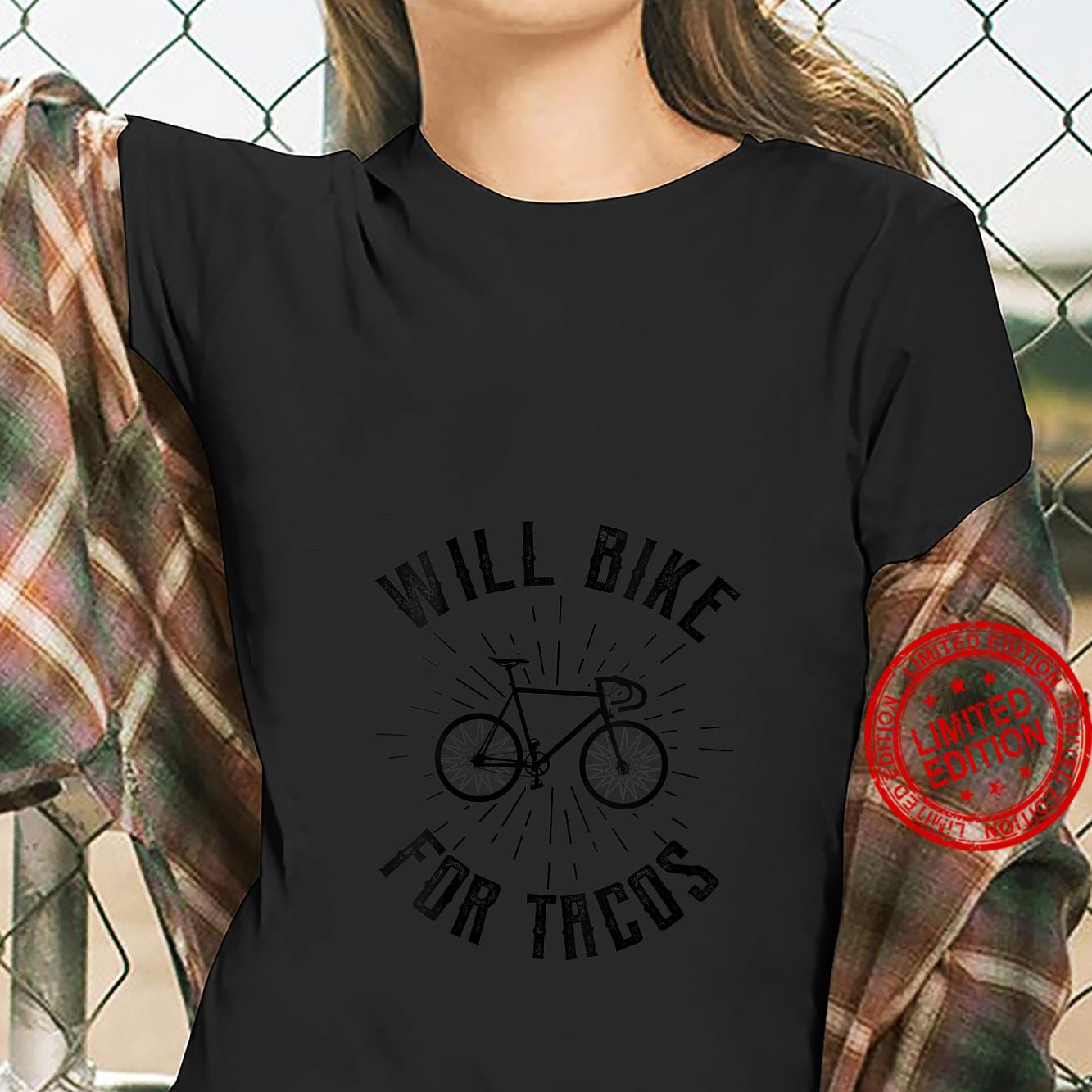 Womens Will Bike For Tacos Cycling Bicycle Shirt ladies tee