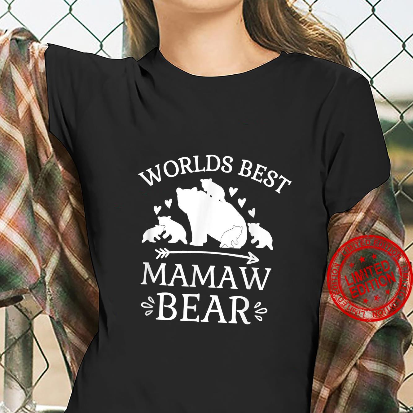 Worlds Best Mamaw Bear Hearts Arrow Cubs Grandmother Shirt ladies tee
