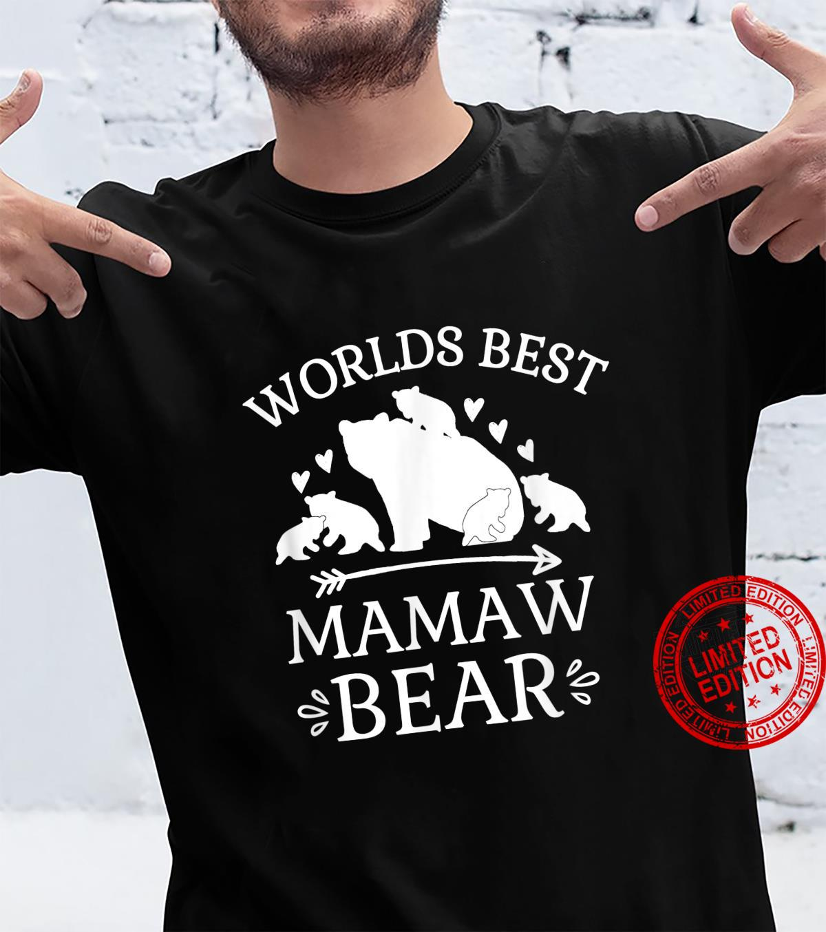 Worlds Best Mamaw Bear Hearts Arrow Cubs Grandmother Shirt